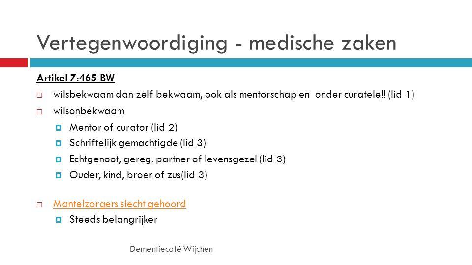 Vertegenwoordiging - medische zaken Artikel 7:465 BW  wilsbekwaam dan zelf bekwaam, ook als mentorschap en onder curatele!.