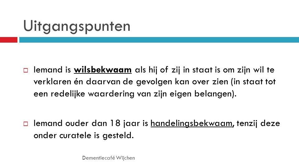 Nalezen op internet Dementiecafé Wijchen  http://www.alzheimer-nederland.nl/informatie/wat-moet-ik- regelen/vertegenwoordiging.aspx http://www.alzheimer-nederland.nl/informatie/wat-moet-ik- regelen/vertegenwoordiging.aspx  http://www.goedvertegenwoordigd.nl/ http://www.goedvertegenwoordigd.nl/
