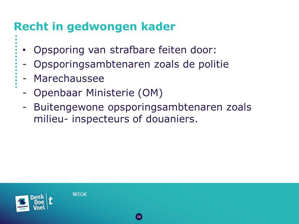 Recht in gedwongen kader WIGK Opsporing van strafbare feiten door: -Opsporingsambtenaren zoals de politie -Marechaussee -Openbaar Ministerie (OM) -Bui