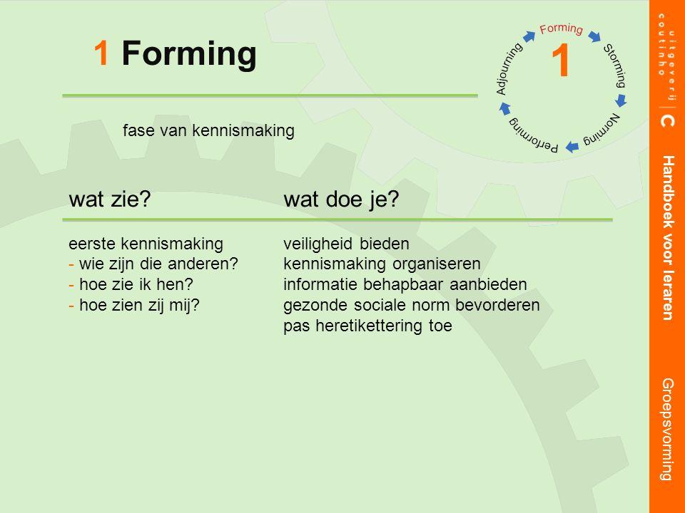 1 Forming 1 Handboek voor leraren Groepsvorming wat zie?wat doe je.