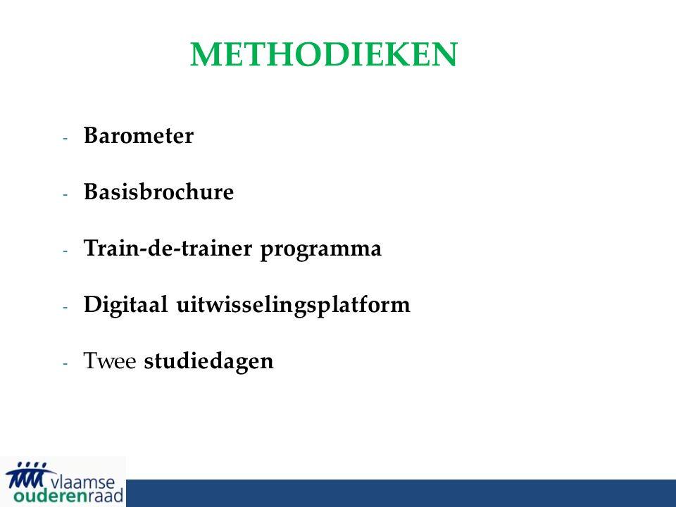 METHODIEKEN - Barometer - Basisbrochure - Train-de-trainer programma - Digitaal uitwisselingsplatform - Twee studiedagen