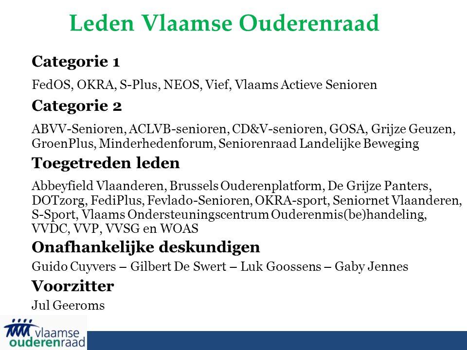 Leden Vlaamse Ouderenraad Categorie 1 FedOS, OKRA, S-Plus, NEOS, Vief, Vlaams Actieve Senioren Categorie 2 ABVV-Senioren, ACLVB-senioren, CD&V-seniore