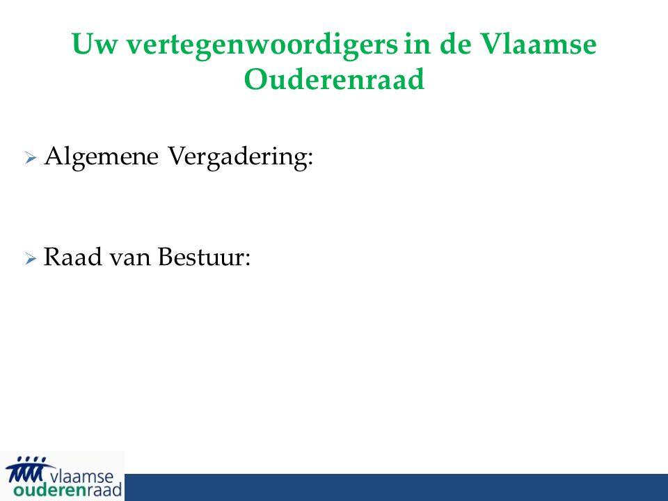 Uw vertegenwoordigers in de Vlaamse Ouderenraad  Algemene Vergadering:  Raad van Bestuur: