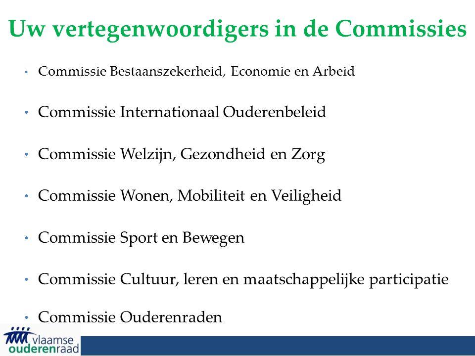 Uw vertegenwoordigers in de Commissies Commissie Bestaanszekerheid, Economie en Arbeid Commissie Internationaal Ouderenbeleid Commissie Welzijn, Gezon