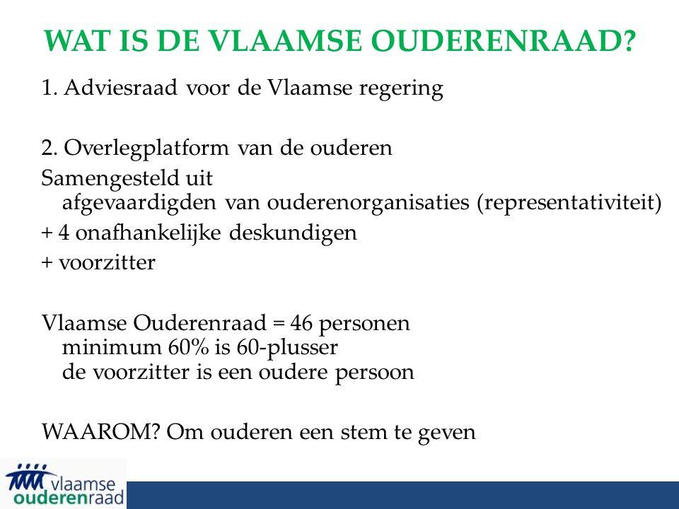 WAT IS DE VLAAMSE OUDERENRAAD? 1. Adviesraad voor de Vlaamse regering 2. Overlegplatform van de ouderen Samengesteld uit afgevaardigden van ouderenorg