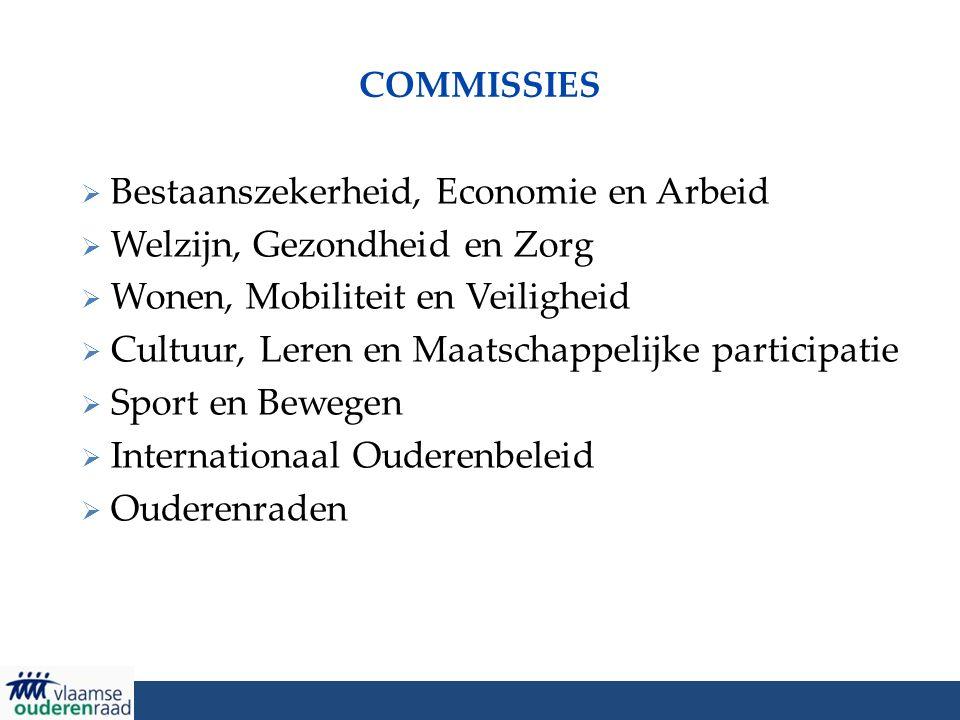 COMMISSIES  Bestaanszekerheid, Economie en Arbeid  Welzijn, Gezondheid en Zorg  Wonen, Mobiliteit en Veiligheid  Cultuur, Leren en Maatschappelijk