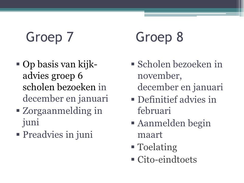Groep 7 Groep 8  Op basis van kijk- advies groep 6 scholen bezoeken in december en januari  Zorgaanmelding in juni  Preadvies in juni  Scholen bezoeken in november, december en januari  Definitief advies in februari  Aanmelden begin maart  Toelating  Cito-eindtoets