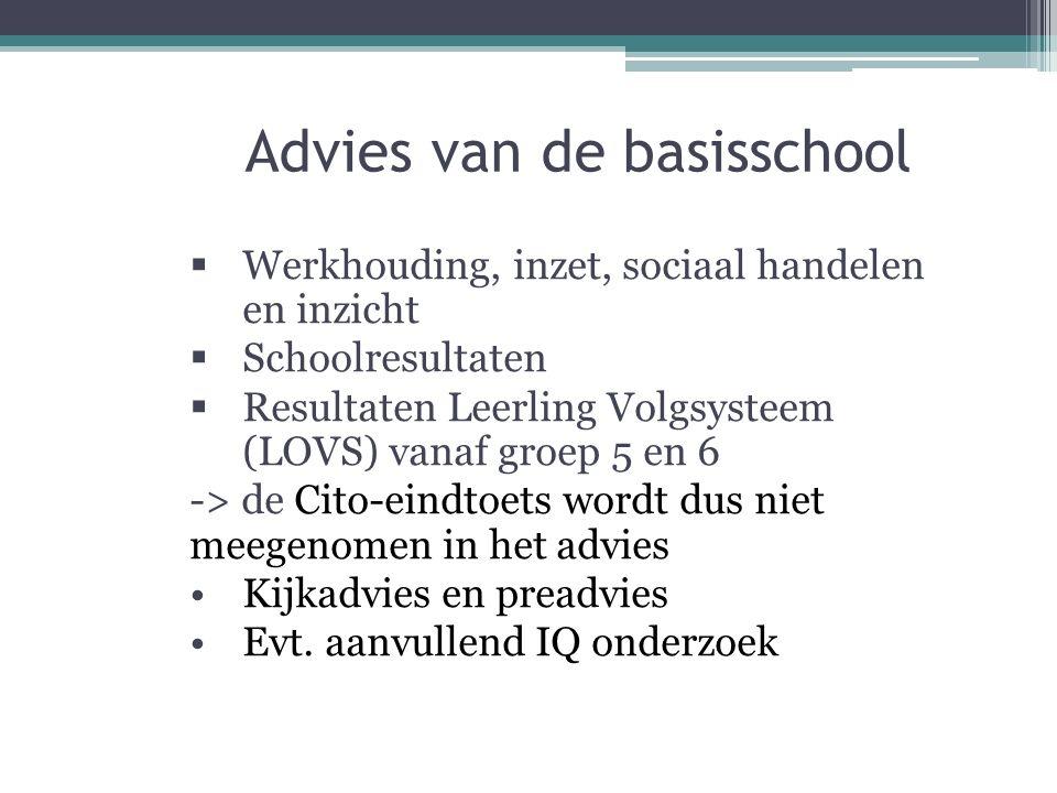 Advies van de basisschool  Werkhouding, inzet, sociaal handelen en inzicht  Schoolresultaten  Resultaten Leerling Volgsysteem (LOVS) vanaf groep 5 en 6 -> de Cito-eindtoets wordt dus niet meegenomen in het advies Kijkadvies en preadvies Evt.
