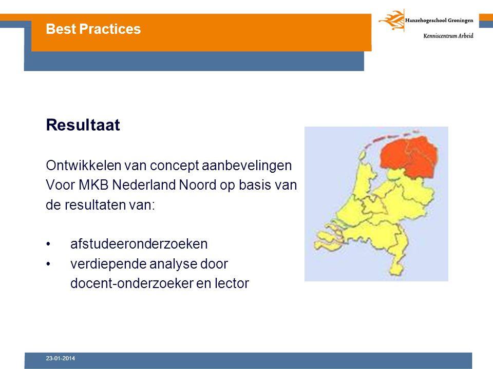 Resultaat Ontwikkelen van concept aanbevelingen Voor MKB Nederland Noord op basis van de resultaten van: afstudeeronderzoeken verdiepende analyse door docent-onderzoeker en lector Best Practices