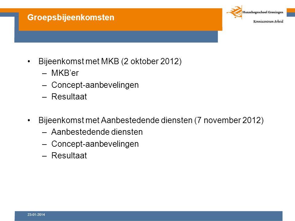 23-01-2014 Bijeenkomst met MKB (2 oktober 2012) –MKB'er –Concept-aanbevelingen –Resultaat Bijeenkomst met Aanbestedende diensten (7 november 2012) –Aanbestedende diensten –Concept-aanbevelingen –Resultaat Groepsbijeenkomsten