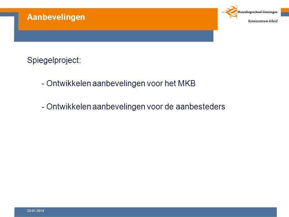 Spiegelproject: - Ontwikkelen aanbevelingen voor het MKB - Ontwikkelen aanbevelingen voor de aanbesteders Aanbevelingen