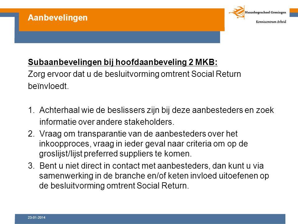 23-01-2014 Subaanbevelingen bij hoofdaanbeveling 2 MKB: Zorg ervoor dat u de besluitvorming omtrent Social Return beïnvloedt.