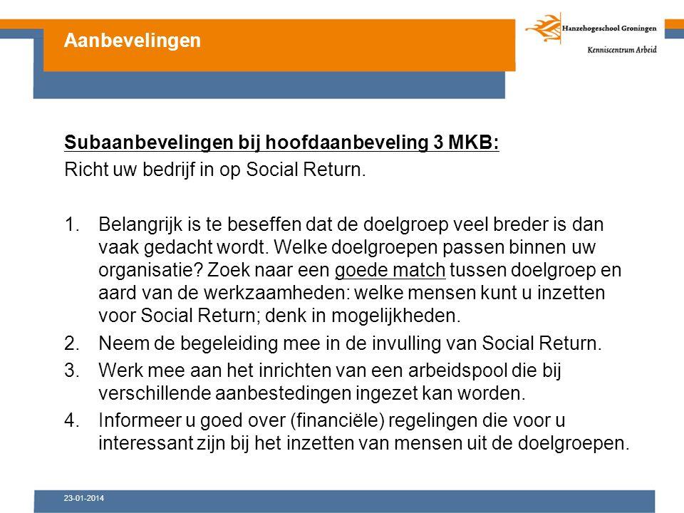 23-01-2014 Subaanbevelingen bij hoofdaanbeveling 3 MKB: Richt uw bedrijf in op Social Return.