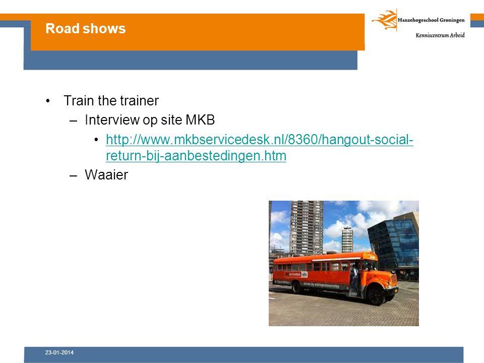 23-01-2014 Train the trainer –Interview op site MKB http://www.mkbservicedesk.nl/8360/hangout-social- return-bij-aanbestedingen.htmhttp://www.mkbservicedesk.nl/8360/hangout-social- return-bij-aanbestedingen.htm –Waaier Road shows