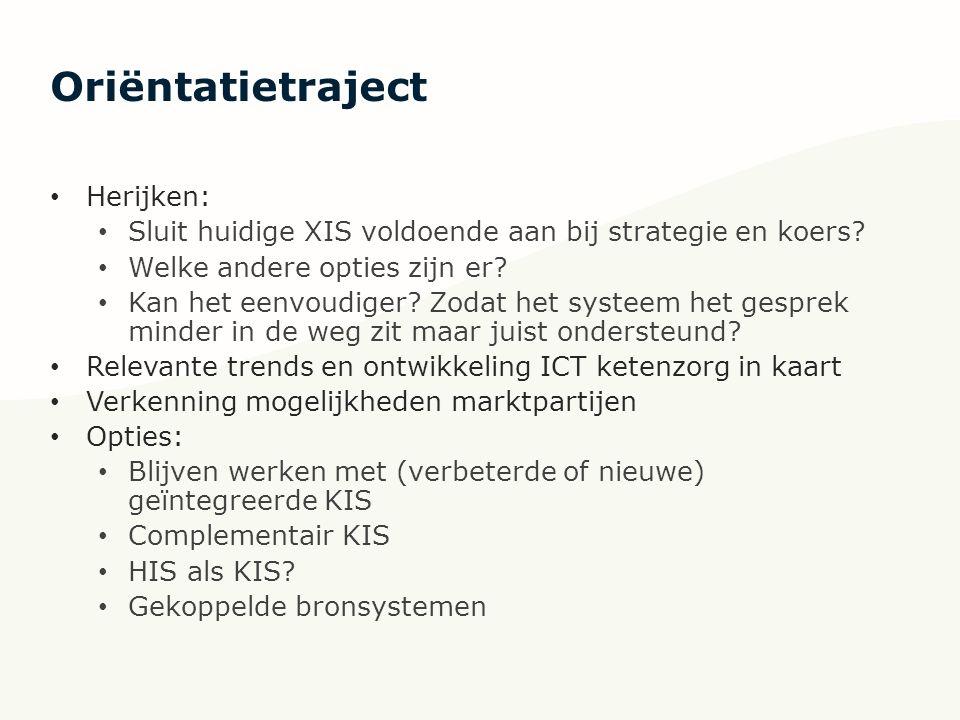 Oriëntatietraject Herijken: Sluit huidige XIS voldoende aan bij strategie en koers.