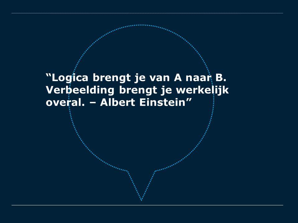 """""""Logica brengt je van A naar B. Verbeelding brengt je werkelijk overal. – Albert Einstein"""""""