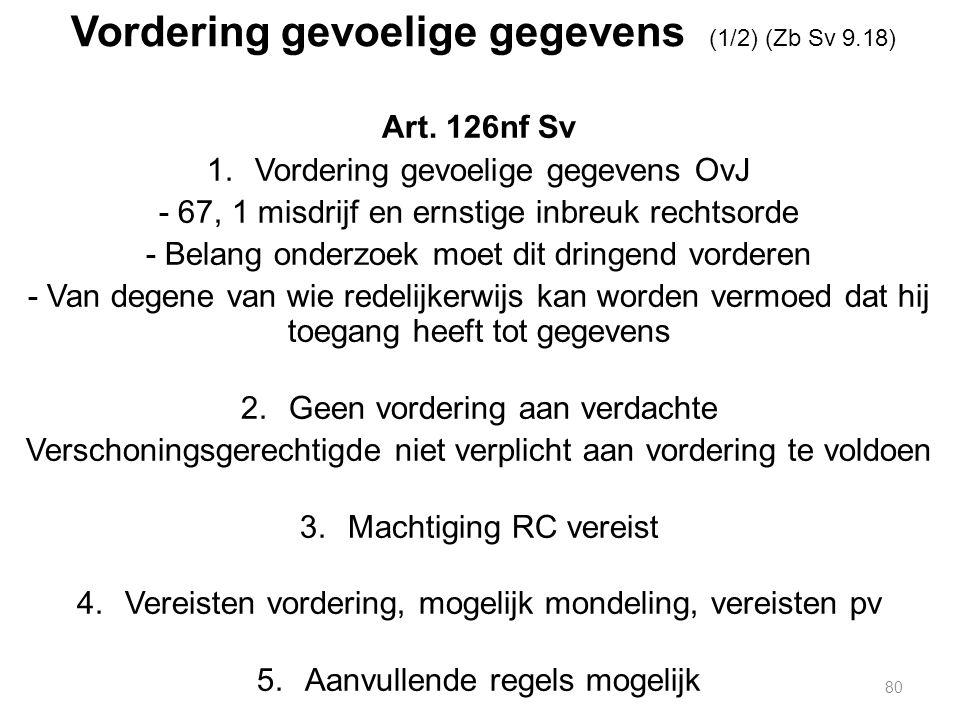 Vordering gevoelige gegevens (1/2) (Zb Sv 9.18) Art.