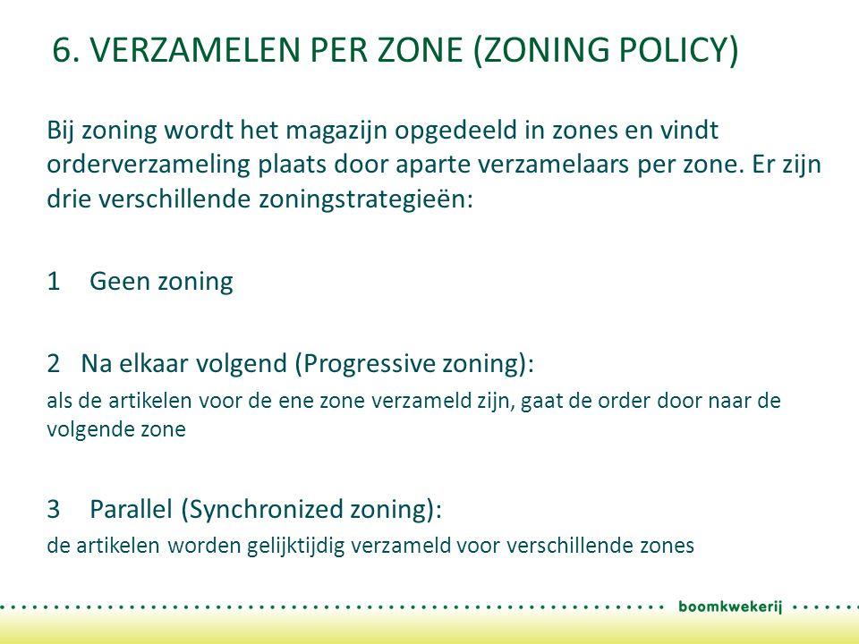 6. VERZAMELEN PER ZONE (ZONING POLICY) Bij zoning wordt het magazijn opgedeeld in zones en vindt orderverzameling plaats door aparte verzamelaars per