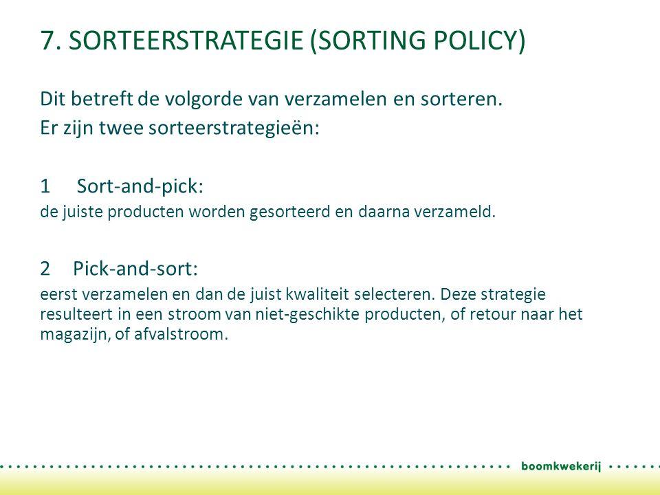 7. SORTEERSTRATEGIE (SORTING POLICY) Dit betreft de volgorde van verzamelen en sorteren.