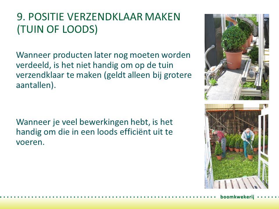 9. POSITIE VERZENDKLAAR MAKEN (TUIN OF LOODS) Wanneer producten later nog moeten worden verdeeld, is het niet handig om op de tuin verzendklaar te mak