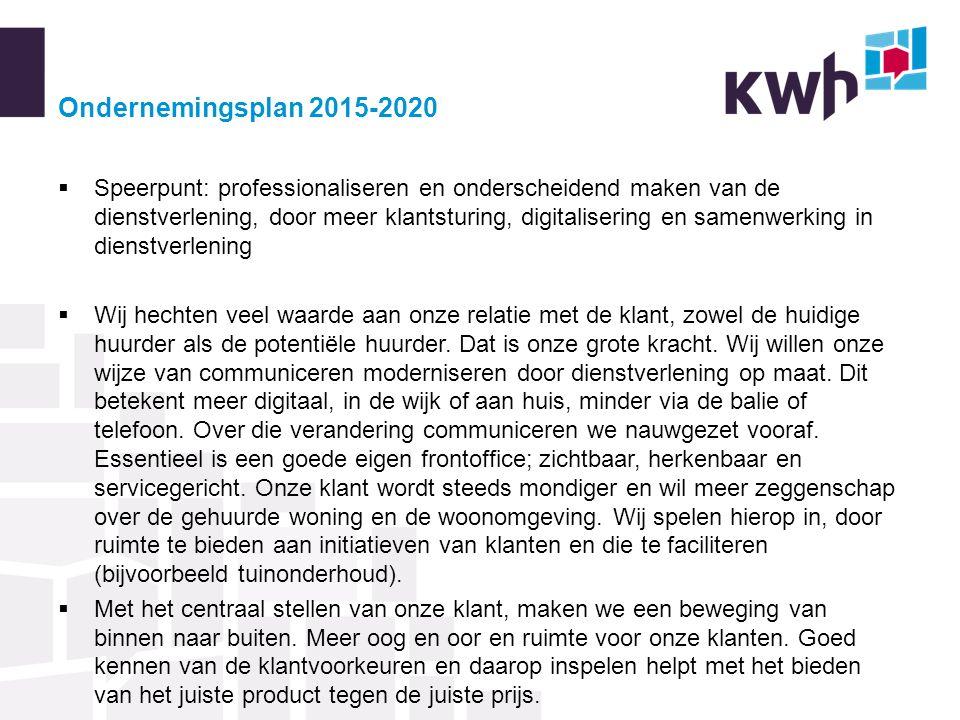 Ondernemingsplan 2015-2020  Speerpunt: professionaliseren en onderscheidend maken van de dienstverlening, door meer klantsturing, digitalisering en s