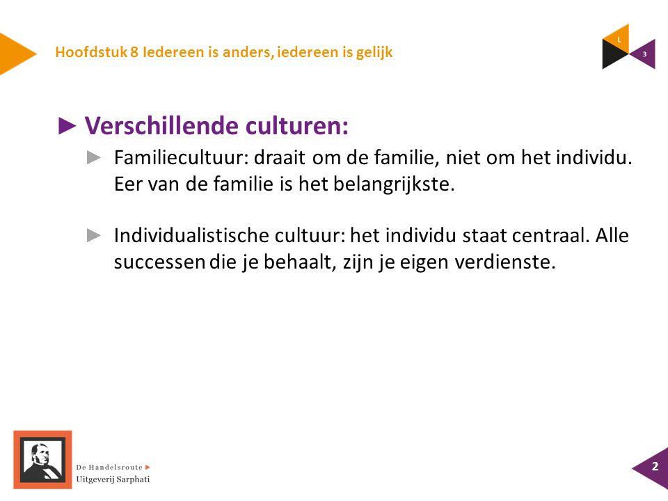 Hoofdstuk 8 Iedereen is anders, iedereen is gelijk ► Verschillende culturen: ► Familiecultuur: draait om de familie, niet om het individu.