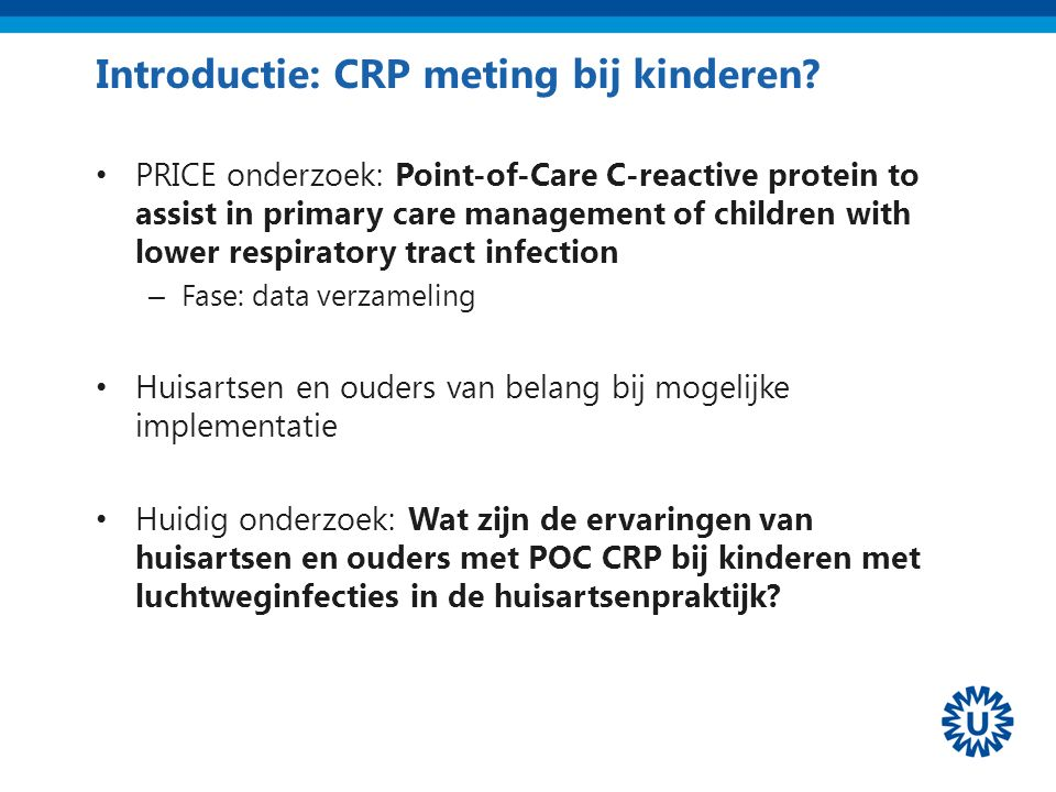 Introductie: CRP meting bij kinderen.
