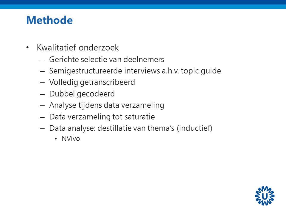 Methode Kwalitatief onderzoek – Gerichte selectie van deelnemers – Semigestructureerde interviews a.h.v.