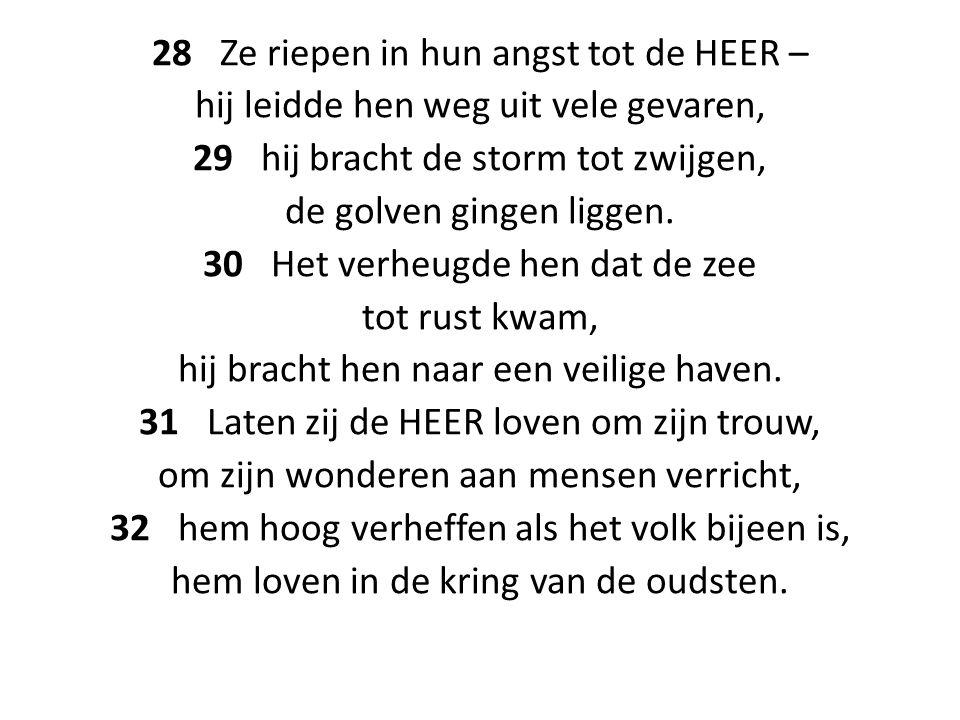 28 Ze riepen in hun angst tot de HEER – hij leidde hen weg uit vele gevaren, 29 hij bracht de storm tot zwijgen, de golven gingen liggen.