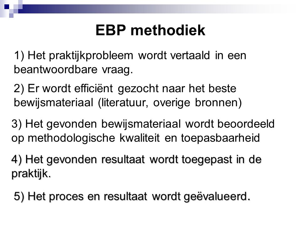 Uitleg EBP methodiek tot nu toe 1) Het praktijkprobleem wordt vertaald in een beantwoordbare vraag.