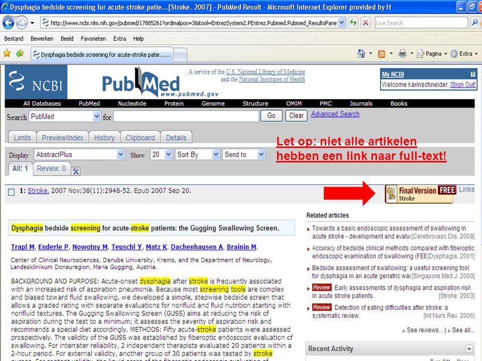 Let op: niet alle artikelen hebben een link naar full-text!