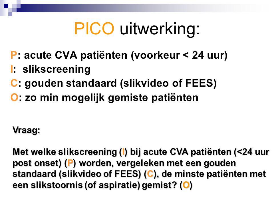 PICO uitwerking: P: acute CVA patiënten (voorkeur < 24 uur) I: slikscreening C: gouden standaard (slikvideo of FEES) O: zo min mogelijk gemiste patiënten Vraag: Met welke slikscreening (I) bij acute CVA patiënten (<24 uur post onset) (P) worden, vergeleken met een gouden standaard (slikvideo of FEES) (C), de minste patiënten met een slikstoornis (of aspiratie) gemist.