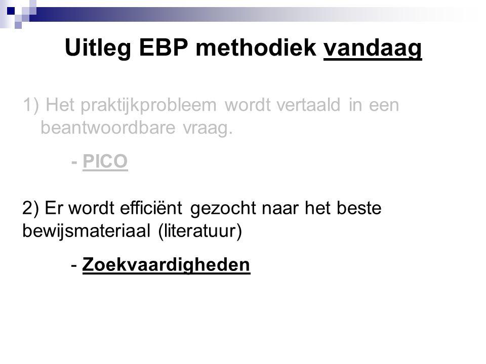Uitleg EBP methodiek vandaag 1) Het praktijkprobleem wordt vertaald in een beantwoordbare vraag.