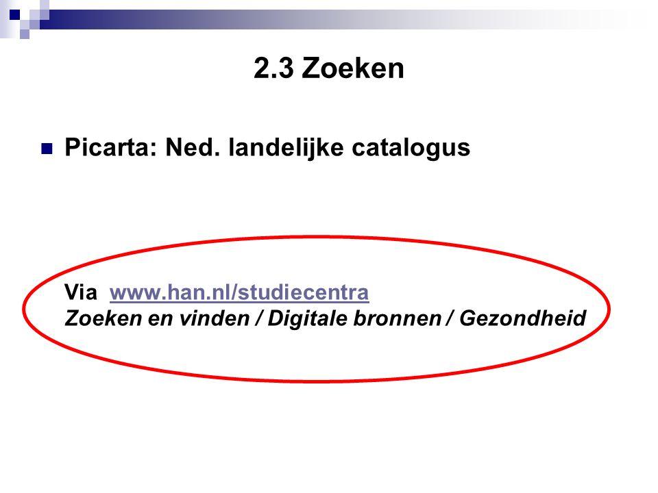 2.3 Zoeken Picarta: Ned.