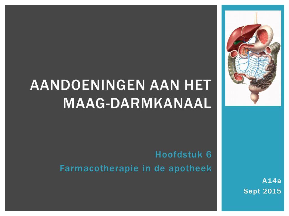 A14a Sept 2015 AANDOENINGEN AAN HET MAAG-DARMKANAAL Hoofdstuk 6 Farmacotherapie in de apotheek
