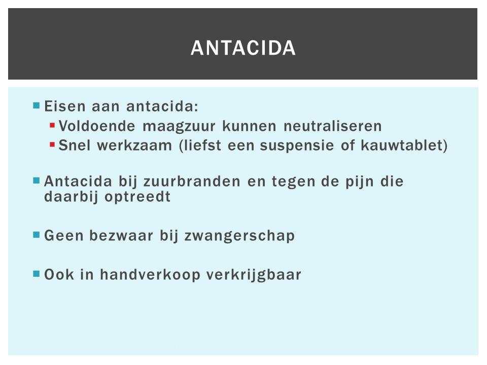  Eisen aan antacida:  Voldoende maagzuur kunnen neutraliseren  Snel werkzaam (liefst een suspensie of kauwtablet)  Antacida bij zuurbranden en teg