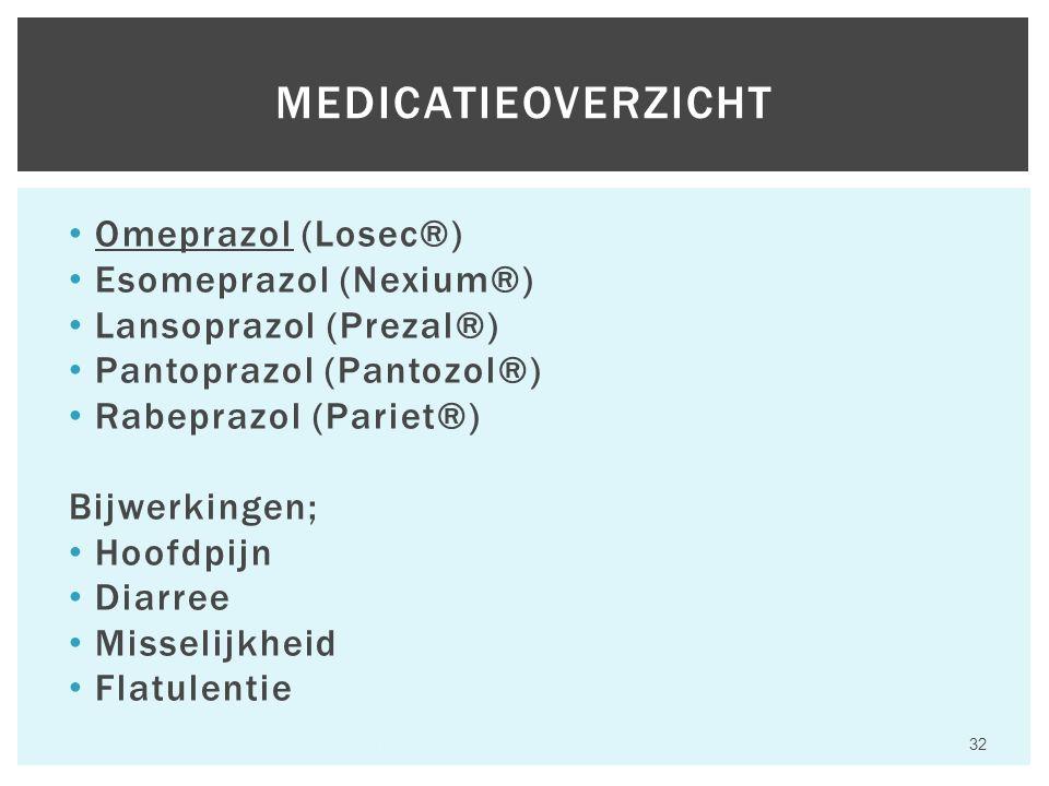 Omeprazol (Losec®) Esomeprazol (Nexium®) Lansoprazol (Prezal®) Pantoprazol (Pantozol®) Rabeprazol (Pariet®) Bijwerkingen; Hoofdpijn Diarree Misselijkheid Flatulentie Hfst 6 Aandoeningen van het maagdarmkanaal 32 MEDICATIEOVERZICHT