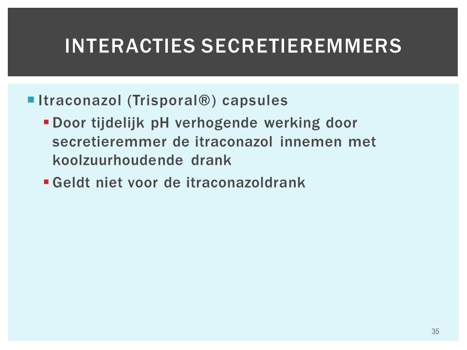  Itraconazol (Trisporal®) capsules  Door tijdelijk pH verhogende werking door secretieremmer de itraconazol innemen met koolzuurhoudende drank  Geldt niet voor de itraconazoldrank Hfst 6 Aandoeningen van het maagdarmkanaal 35 INTERACTIES SECRETIEREMMERS