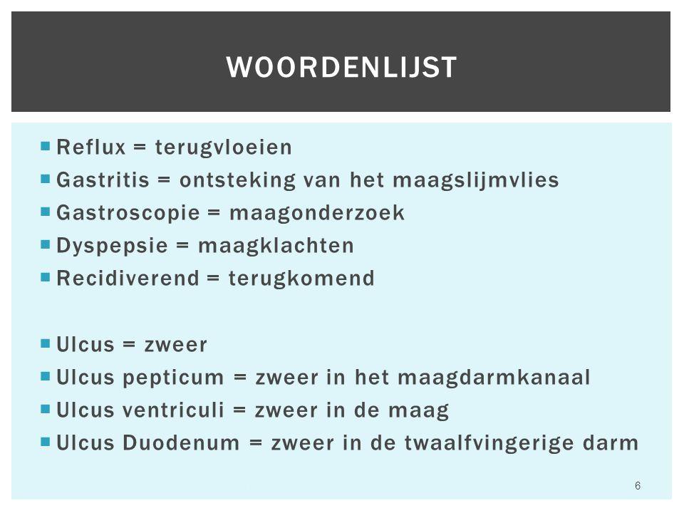  Reflux = terugvloeien  Gastritis = ontsteking van het maagslijmvlies  Gastroscopie = maagonderzoek  Dyspepsie = maagklachten  Recidiverend = terugkomend  Ulcus = zweer  Ulcus pepticum = zweer in het maagdarmkanaal  Ulcus ventriculi = zweer in de maag  Ulcus Duodenum = zweer in de twaalfvingerige darm WOORDENLIJST Hfst 6 Aandoeningen van het maagdarmkanaal 6