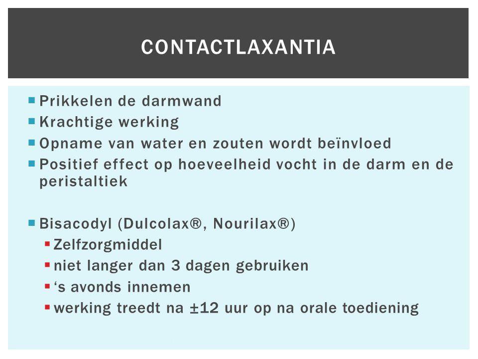  Prikkelen de darmwand  Krachtige werking  Opname van water en zouten wordt beïnvloed  Positief effect op hoeveelheid vocht in de darm en de peristaltiek  Bisacodyl (Dulcolax®, Nourilax®)  Zelfzorgmiddel  niet langer dan 3 dagen gebruiken  's avonds innemen  werking treedt na ±12 uur op na orale toediening Hfst 6 Aandoeningen van het maagdarmkanaal 60 CONTACTLAXANTIA