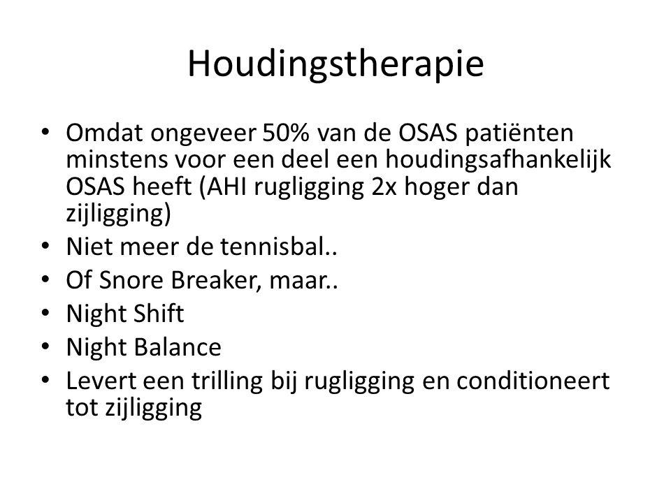 Houdingstherapie Omdat ongeveer 50% van de OSAS patiënten minstens voor een deel een houdingsafhankelijk OSAS heeft (AHI rugligging 2x hoger dan zijligging) Niet meer de tennisbal..
