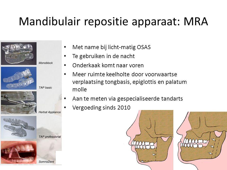 Mandibulair repositie apparaat: MRA Met name bij licht-matig OSAS Te gebruiken in de nacht Onderkaak komt naar voren Meer ruimte keelholte door voorwaartse verplaatsing tongbasis, epiglottis en palatum molle Aan te meten via gespecialiseerde tandarts Vergoeding sinds 2010
