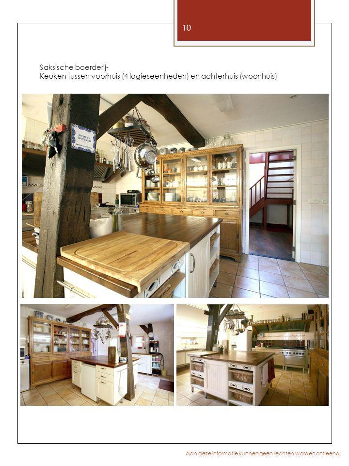 10 Aan deze informatie kunnen geen rechten worden ontleend Saksische boerderij- Keuken tussen voorhuis (4 logieseenheden) en achterhuis (woonhuis)