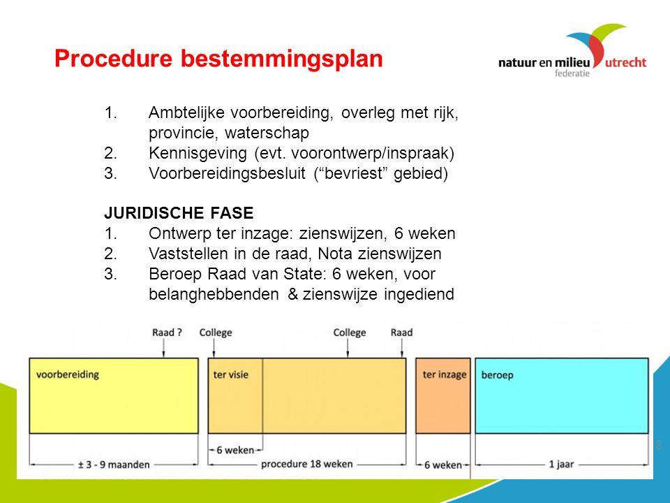 18 Procedure bestemmingsplan 1.Ambtelijke voorbereiding, overleg met rijk, provincie, waterschap 2.Kennisgeving (evt.