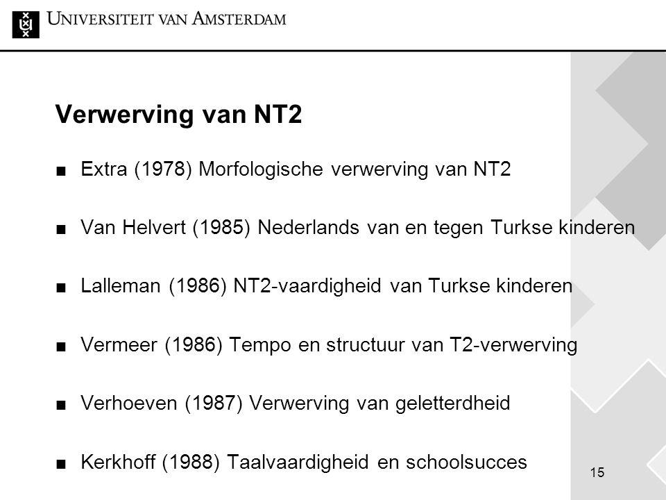 15 Verwerving van NT2 Extra (1978) Morfologische verwerving van NT2 Van Helvert (1985) Nederlands van en tegen Turkse kinderen Lalleman (1986) NT2-vaa