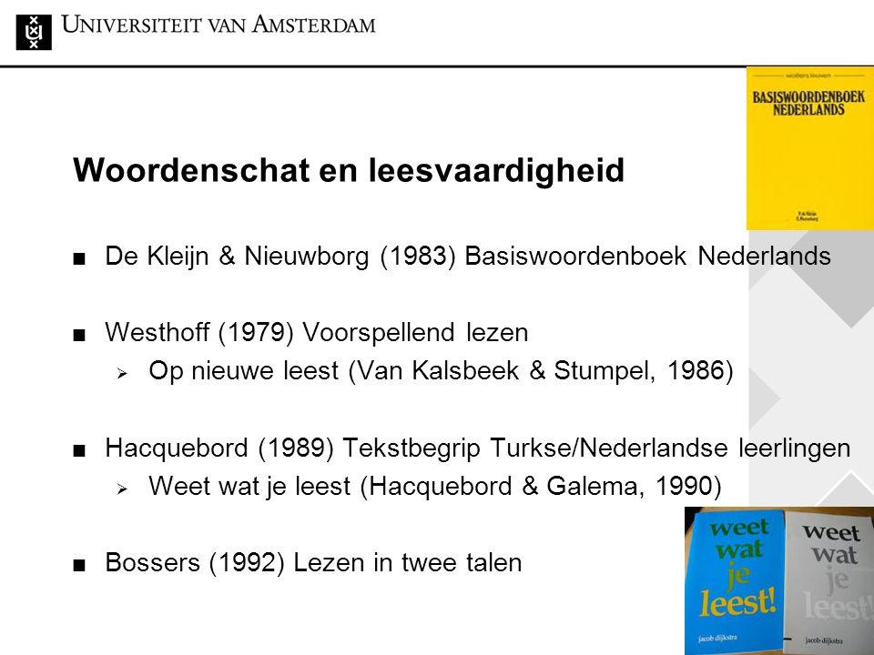 17 Woordenschat en leesvaardigheid De Kleijn & Nieuwborg (1983) Basiswoordenboek Nederlands Westhoff (1979) Voorspellend lezen  Op nieuwe leest (Van