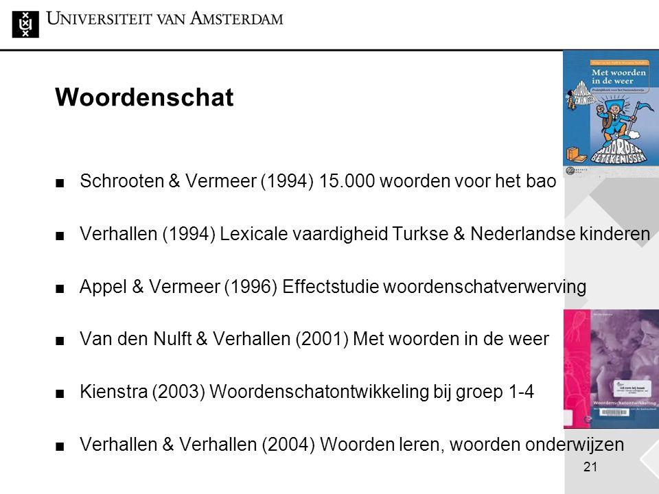 21 Woordenschat Schrooten & Vermeer (1994) 15.000 woorden voor het bao Verhallen (1994) Lexicale vaardigheid Turkse & Nederlandse kinderen Appel & Ver