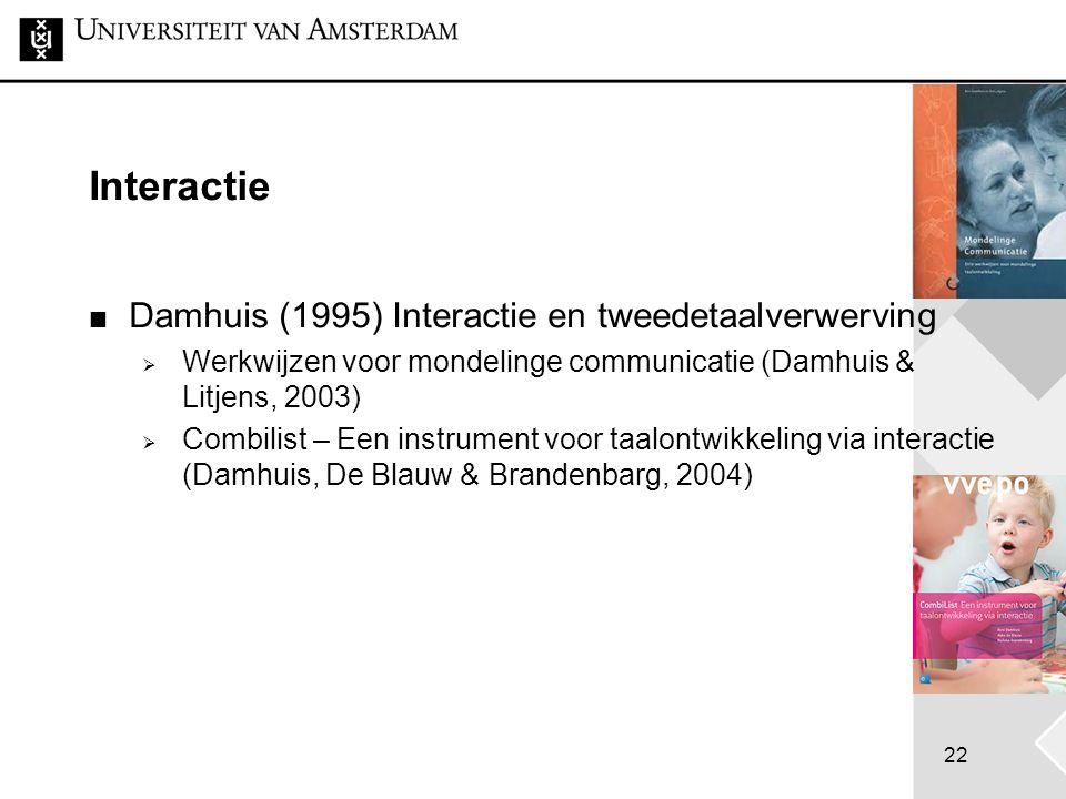 22 Interactie Damhuis (1995) Interactie en tweedetaalverwerving  Werkwijzen voor mondelinge communicatie (Damhuis & Litjens, 2003)  Combilist – Een