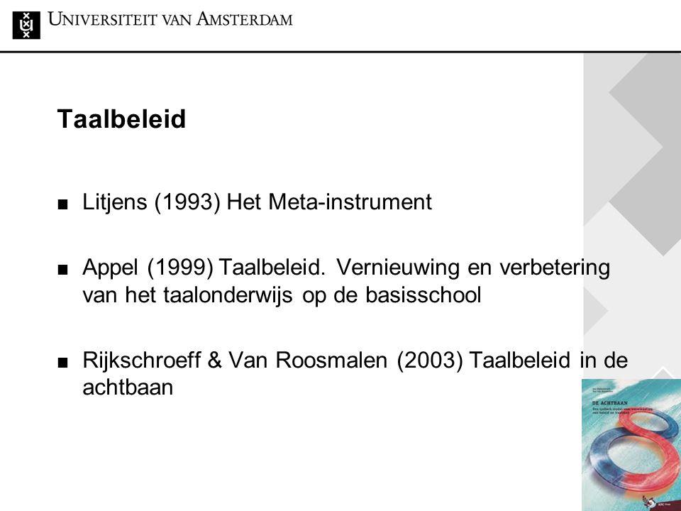 26 Taalbeleid Litjens (1993) Het Meta-instrument Appel (1999) Taalbeleid. Vernieuwing en verbetering van het taalonderwijs op de basisschool Rijkschro
