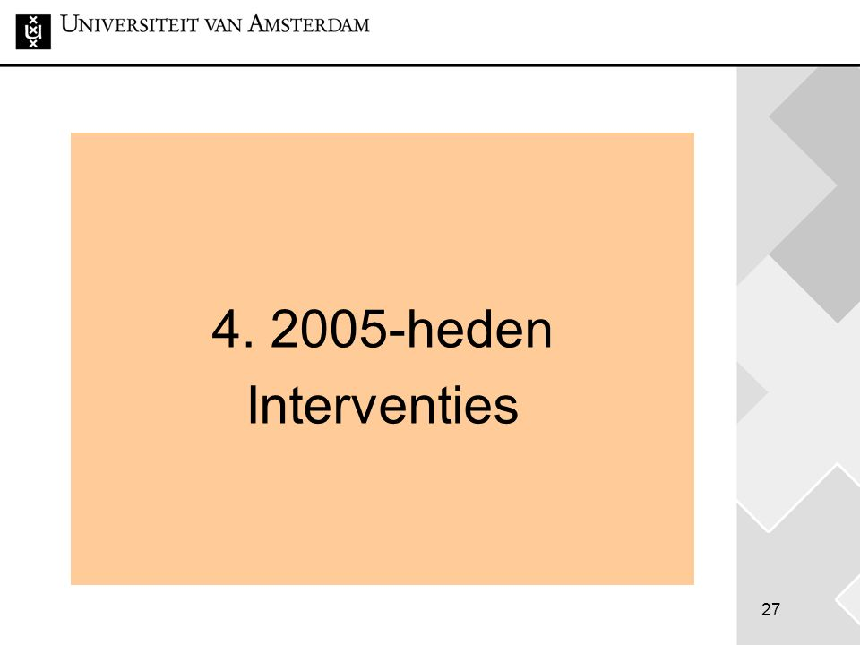 27 4. 2005-heden Interventies